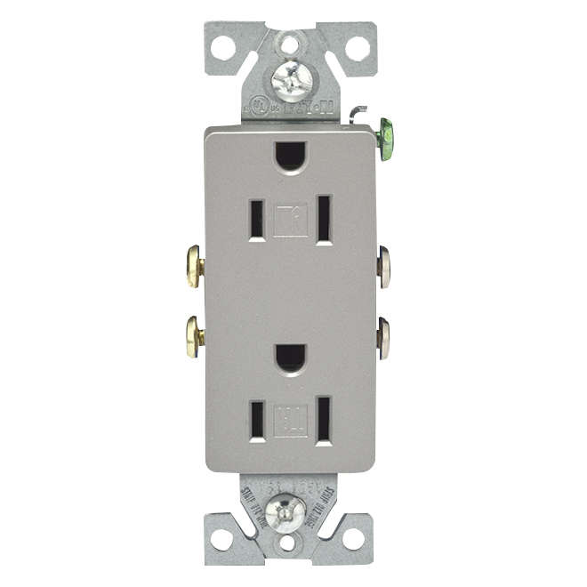 Secure Double Wall Receptacle - 15 A; 120 V - Silver