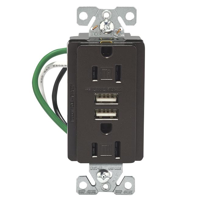 Prise murale/USB hybride, 3.1 A-15 A; 125 V, bronze