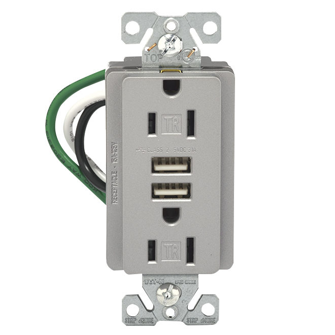 Wall Receptacle/USB Outlet - 3.1 A-15 A; 125 V - Silver