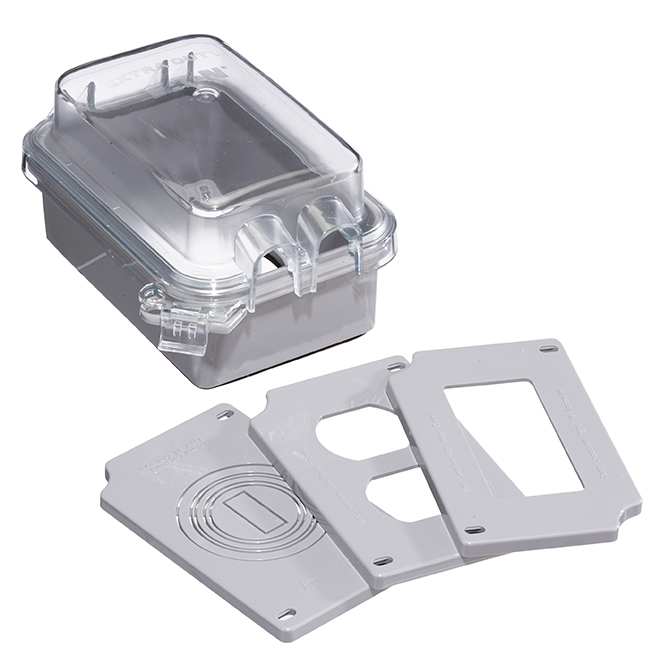 Weatherproof Cover for 1-Gang Outlet - Vertical - Grey