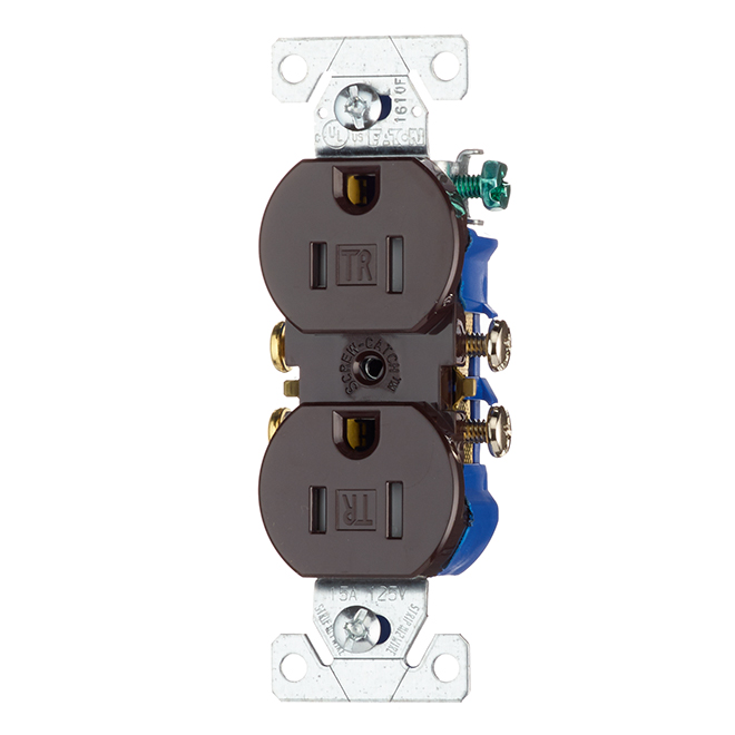 Tamper Resistant Duplex Outlet - 125 V - 15 A - Brown