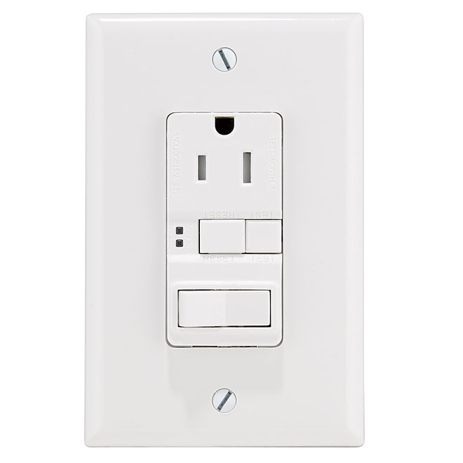 Self-Testing Outlet/Switch GFCI - 15 A 125 V/AC - White