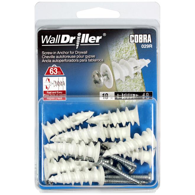 Ancrages pour cloison sèche WallDriller de Cobra, no 8, boîte de 10, nylon, vis incluses