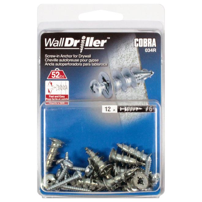 """Walldriller"" Self-Drilling Anchors and Screws - #6 - 12 PK"
