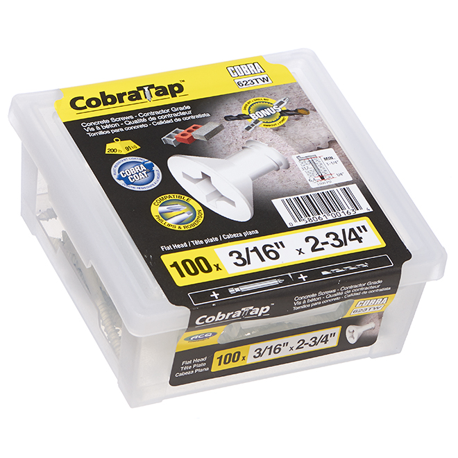 """Concrete Screws - Flat Head - 3/16"""" x 23/4"""" - 100/Box - White"""