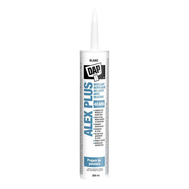 Scellant ALEX PLUS, latex acrylique et silicone, 300ml, clair
