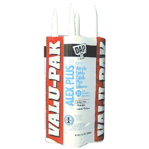 ALEX PLUS Caulk - Acrylic Latex Plus Silicone - 4/PK - White
