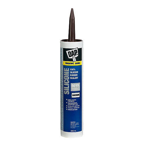 100% Silicone Window, Door and Siding Sealant - 300 ml - Brown