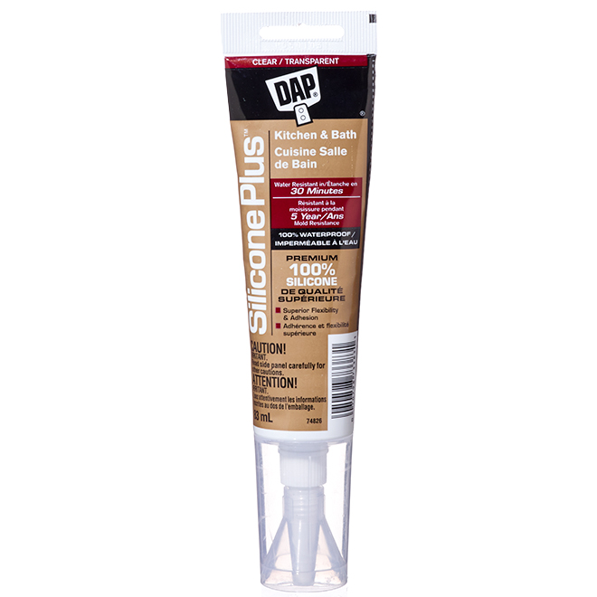 Silicone Plus Sealant - Kitchen and Bathroom - 83 mL - Clear