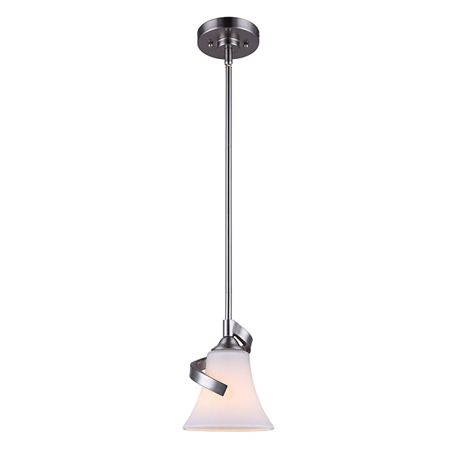 Pendant - Opal Glass Shade - Brushed Nickel