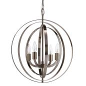 Chandelier - 4 Lights - Adjustable Height - Brushed Nickel