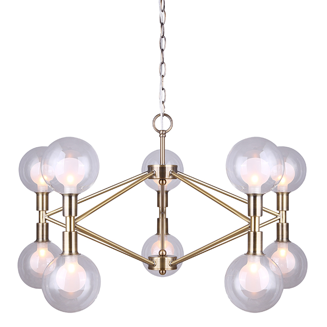 Canarm 10-Light Glass Shades Chandelier - Gold Finish