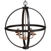 "Sutton 4-Light Chandelier - 22.75"" - Black and Bronze"