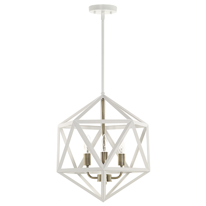 """Suspended 3 Light Pendant - 15 1/2"""" - Gold and White"""