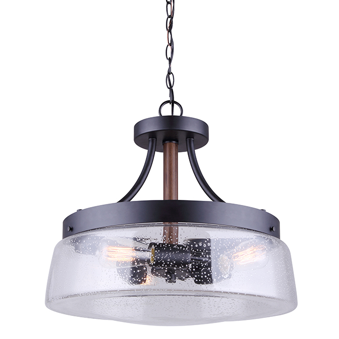 """""""Riva"""" 3-Light Chandelier - 100 W - Black and Wood"""