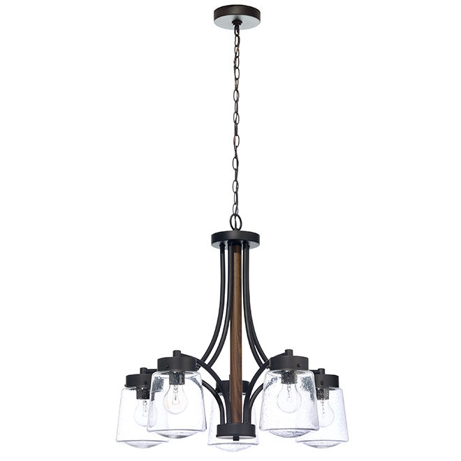 """Riva"" 5-Light Chandelier - 60 W - Black and Wood"