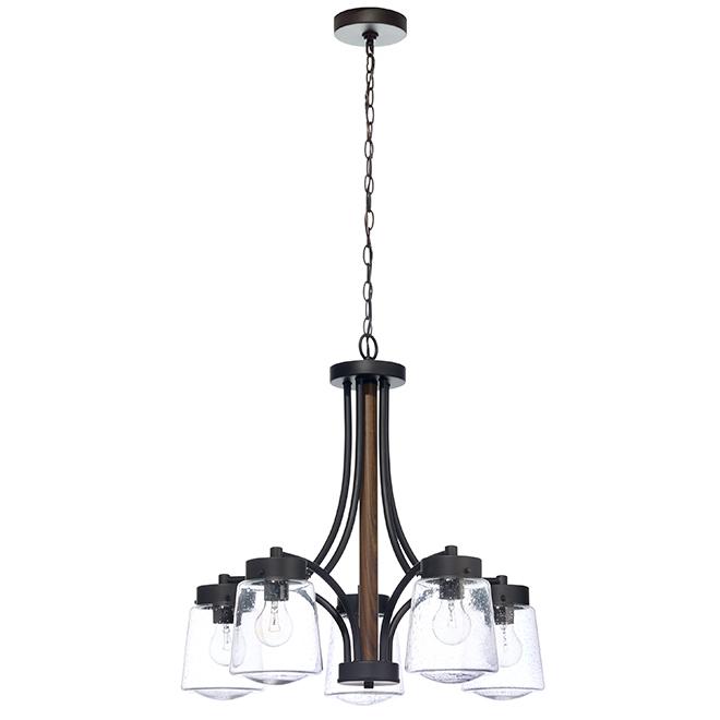 Lustre «Riva» à 5 lumières, 60 W, noir et bois