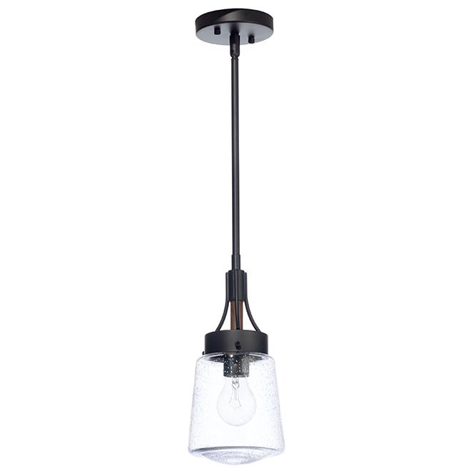 Luminaire suspendu «Riva» à 1 lumière, 60 W, noir et bois