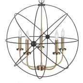 5-Light Chandelier Donovan - 25'' x 27'' - Black and Gold