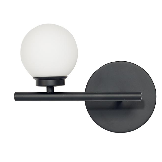 Applique pour vanité, 1 lumière DEL, 7 W, 10'', noir