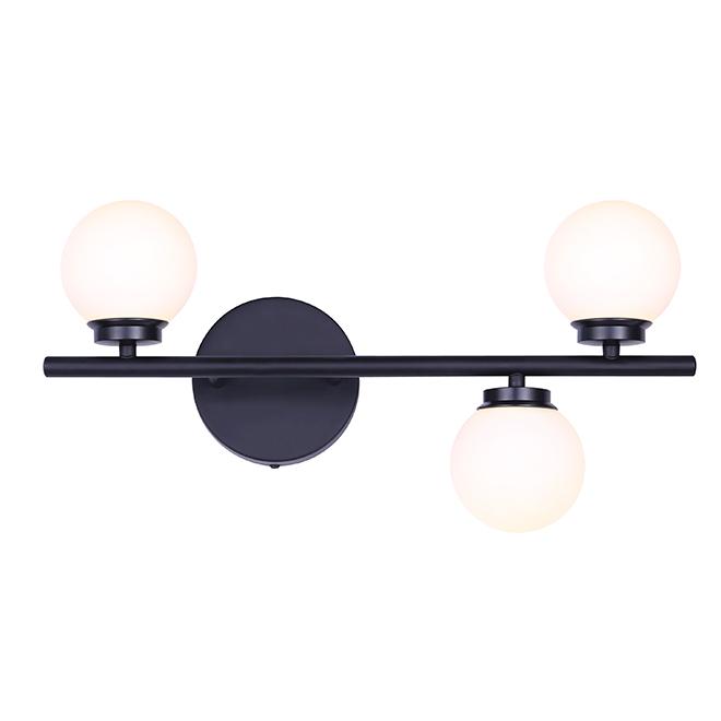 "Bathroom Vanity 3-Light Fixture - Black - 19"""