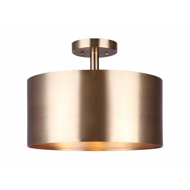 Semi-plafonnier Lola de Canarm, 3 lumières, métal, or