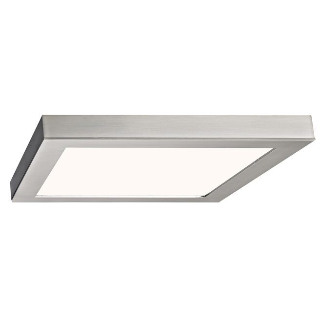 Plafonnier carré DEL, Canarm, métal et acrylique, 11 po 15 W, nickel brossé