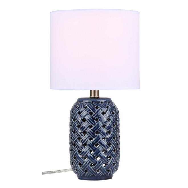Canarm Kailano Table Lamp - 11-in x 14-in - Ceramic/Fabric - Gold/Blue/White