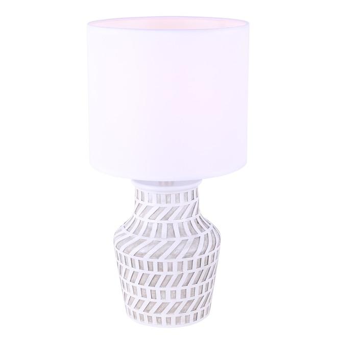 Lampe de table Nohea de Canarm, 11,8 po x 14,2 po, tissu, nickel brossé et blanc