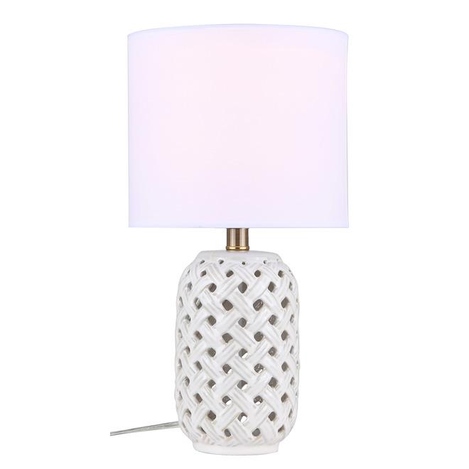 Canarm Luana Table Lamp - 14-in x 11-in - Ceramic/Fabric - Gold/White