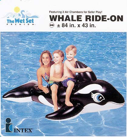 """Inflatable Ride-On - Large Whale - 76"""" x 47"""" - Black and White"""
