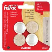 "Fused-Felt Plastic Leg Tips - Round - White - 3/4"" - 4/Pk"