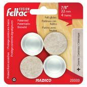 """Fused-Felt Plastic Leg Tips - Round - White - 7/8"""" - 4/Pk"""