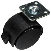 Dual-Wheel Plate Caster - 77 lbs Capacity - Brake - 2
