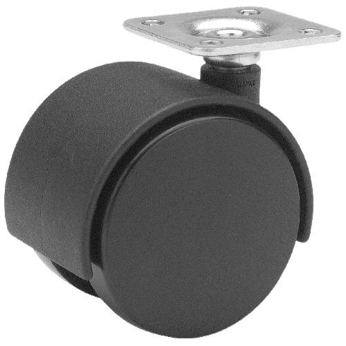 "Dual-Wheel Plate Caster - 55 lbs Capacity - 1  5/8"""