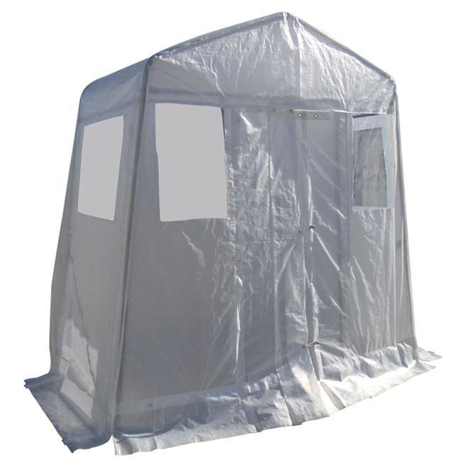 Abri vestibule en polyéthylène, 8' x 4', blanc