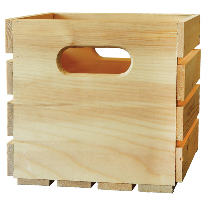 "Natural Pine Wooden Box -  9"" x 9.5"" x 9.5"""