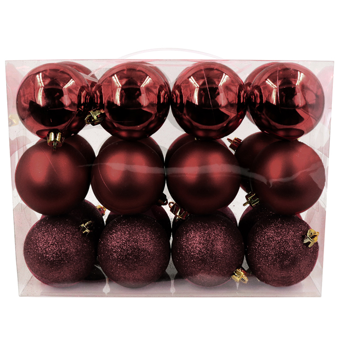 Christmas Ball Set - Plastic - Red - 24/Pk