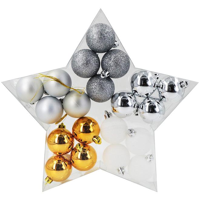 Ensemble de boules de Noël en plastique, or/argent/blanc, 20/pq