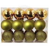 Christmas Ball Set - Plastic - Gold Finish - 24/Pk
