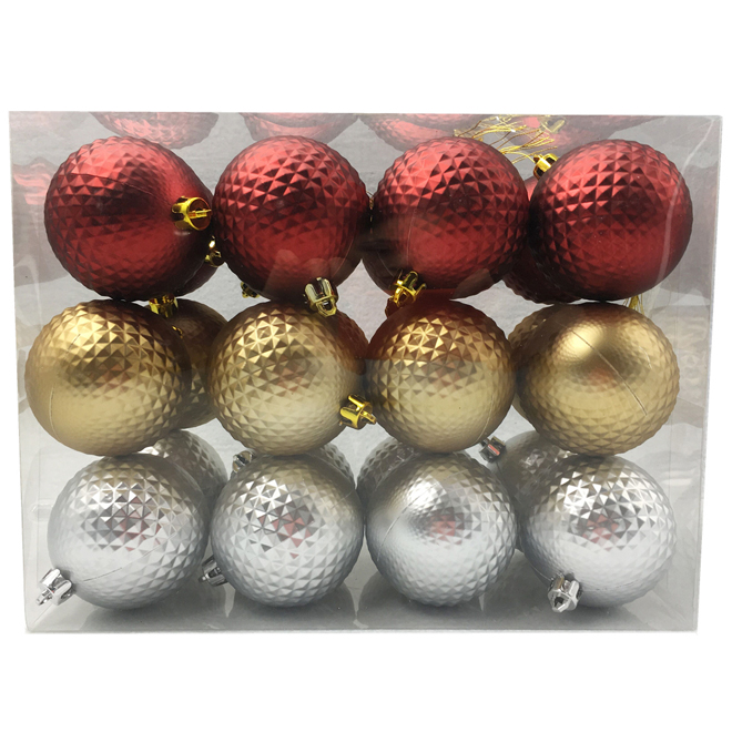 Christmas Ball Set - Plastic - Multicolor - 24/Pk