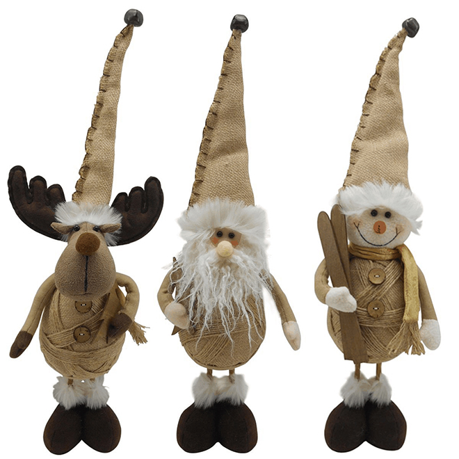 """Plush Rustic Figures - 3 Assorted Characters - 15"""""""