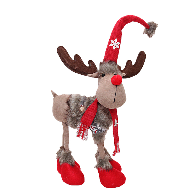 Festive Red-Nosed Reindeer with Fur Coat - 16""