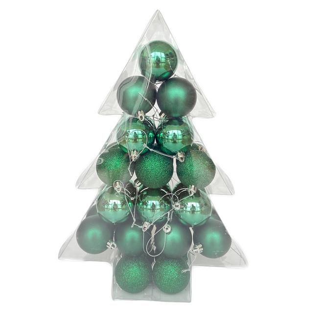 Boules de Noël, collection Noël au chalet, plastique, vert, 34/pqt
