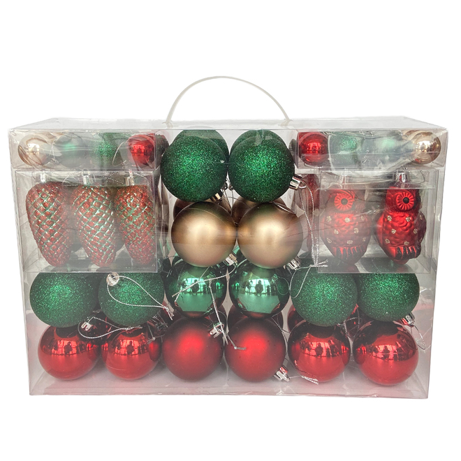 Christmas Ball Ornaments - Rustic Tidings Collection - Plastic - Gold, Red and Green - 100/Pack