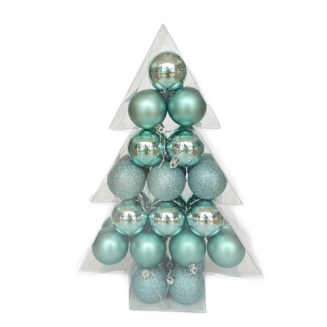 Holiday Living Christmas Balls - Friendly Forest - Mint - 34/Pack