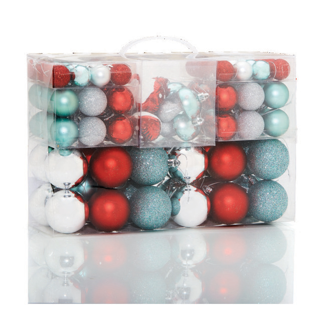 Holiday Living Christmas Ball Ornaments - Plastic - Mint/Grey/Red - 100/Pack