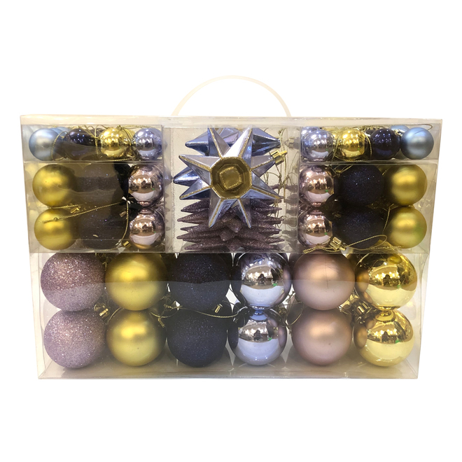 Holiday Living Christmas Balls - Chill Factor - Navy, Gold and Lavender - 100/Pack