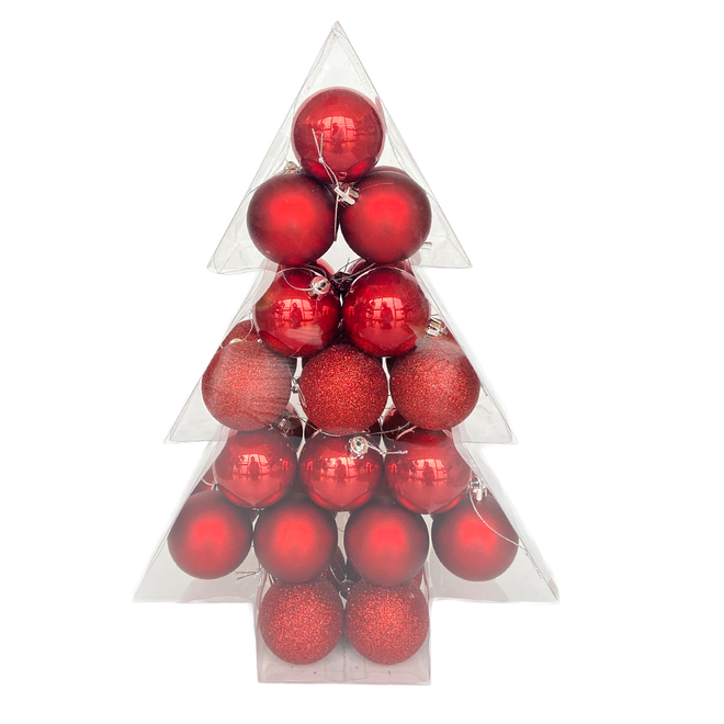 Holiday Living Christmas Balls - Rustic Tidings - Pompeian Red - 34/Pack