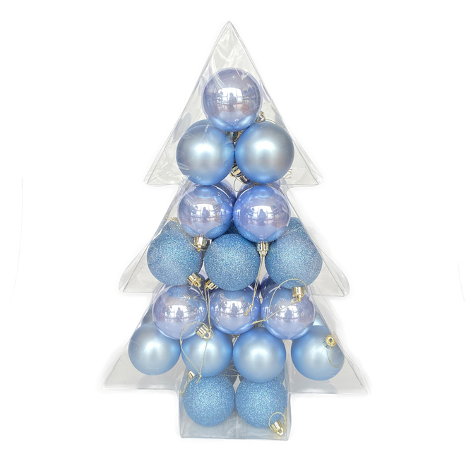Boules de Noël Holiday Living, Chill Factor, bleu cachemire, 34/pqt